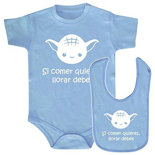 ClickInk Pack Body bebé y babero Si comer quieres, llorar debes. Regalo original. Body friki. Babero friki. Bebé friki. Azul o rosa. (Azul, 3 meses)