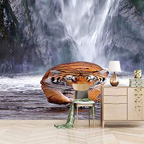 Msrahves Papel Pintado Fotográfico Animales tigres cascadas montañas y aguas Fotomural Vinilo para Pared Infantil Fotomural para Paredes Mural Decorativo Decoración comedores Salones Habitacio