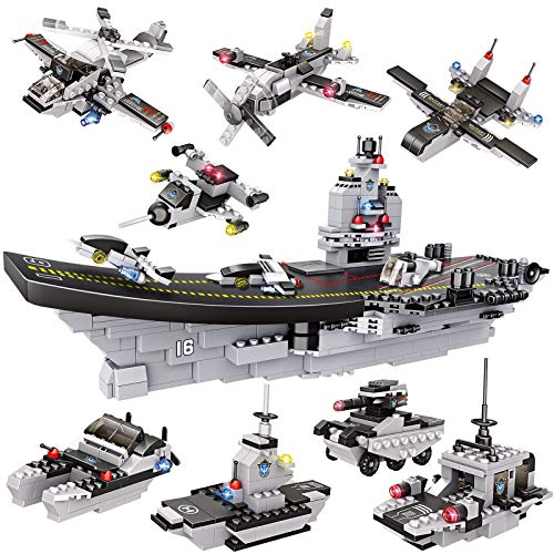 1320 Pieces Aircraft Carrier Building Blocks Set, Military Battleship Model Building Toy Kit with Army Car, Helicopter & Boat, Storage Box with Baseplate Lid, Present Gift for Kids Boys Girls 6-12