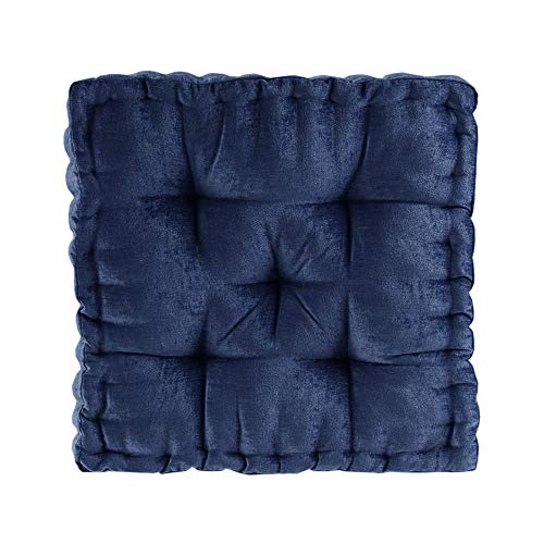 """Intelligent Design Azza Floor Pillow Square Pouf Chenille Tufted with Scalloped Edge Design Hypoallergenic Bench/Chair Cushion, 20"""" x 20"""" x 5"""", Navy"""