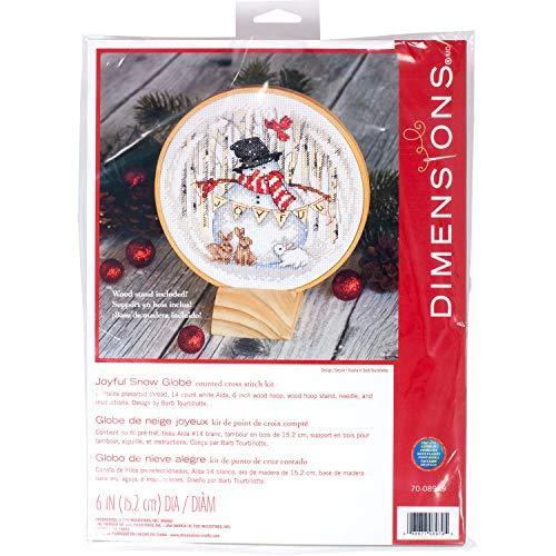 Dimensions Kit, Joyful Snow Globe Christmas Cross Stitch, White 14 Count Aida, 6'' Diameter
