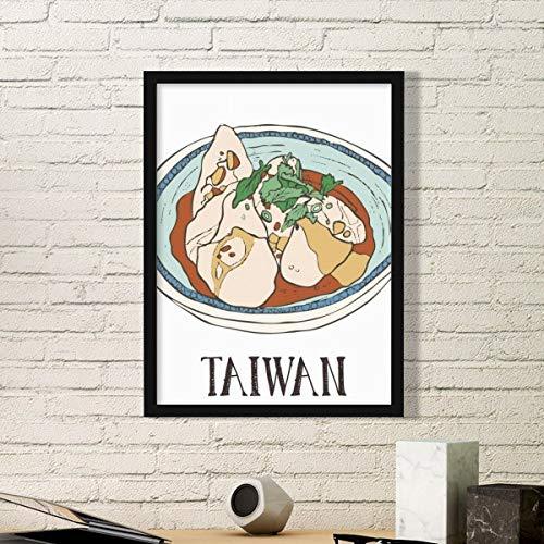 DIYthinker Lebensmittel Rindfleisch Nudeln Taiwan Reisen Einfache Bilderrahmen Kunstdrucke Malereien Startseite Wandtattoo Geschenk Medium Schwarz