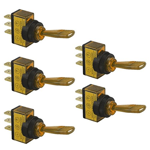 Mintice™ 5 X Véhicule de Voiture 12v 20A 3Pin jaune LED lumière interrupteur à bascule