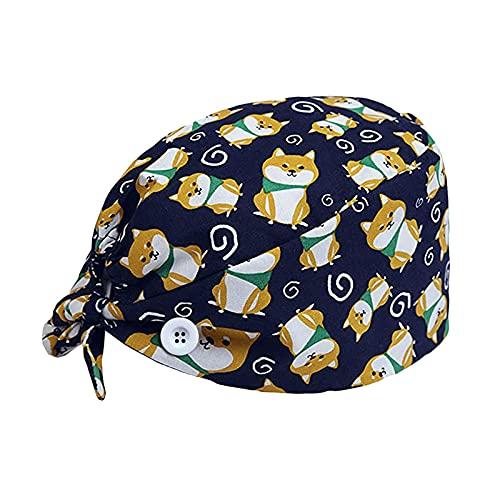 FITYLE Gorros buffant Ajustables con botón Correa Unisex Ajustable Lazo Trasero Sombreros Mujeres Scrub Cap Head Cover para el hogar Cocina Oficina - Perro