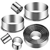 KSPOWWIN 12 Pieces Stainless Steel Cookie Cutter Set Biscuit Plain Edge Round Cutters Metal Ring...