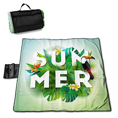 Picknickdecke mit Tukan-Vogel und Papageien, Schnabelblume, Picknickdecke für den Außenbereich, waschbar, faltbar, wasserdicht, für Picknick, Camping, Strand, große Größe 144,8 x 149,9 cm