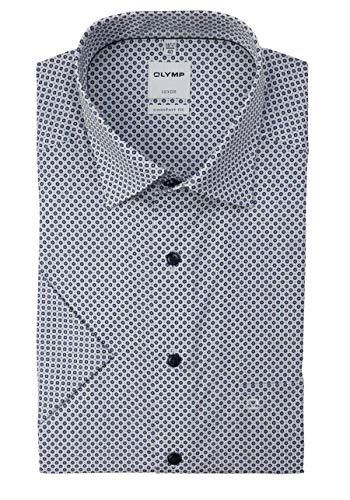 OLYMP Luxor Comfort fit Hemd Halbarm Brusttasche Haifischkragen Muster weiß Größe 42