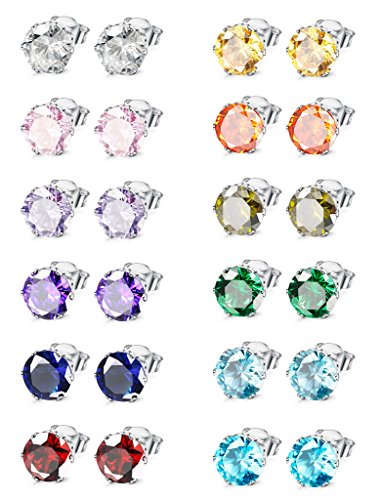 Jstyle Jewelry Stainless Steel Womens CZ Stud Earings Set Piercing, 12 Pairs 6MM