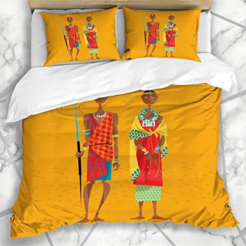 LIS HOME Bettbezug-Sets Souvenir Stamm Maasai Paar Afrika Traditionelle Kleidung Frau Menschen Masai Vintage Kleid Schmuck Weiche Mikrofaser Dekoratives Schlafzimmer mit 2 Kissen Shams