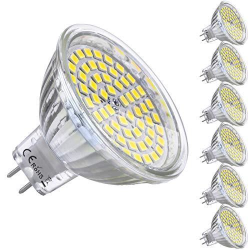 Yafido 6er GU5.3 LED Kaltweiß MR16 12V 5W Ersatz für 35W Halogen Lampen GU5.3 6000K 450 Lumen Kaltweiß Birne Leuchtmittel 120°Abstrahwinkel Spot Nicht-Dimmbar Ø50 x 48 mm