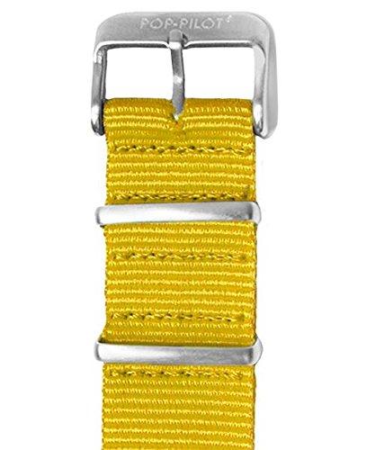 Pop Pilot Damen Stoff Uhrenarmband Gelb M 22mm