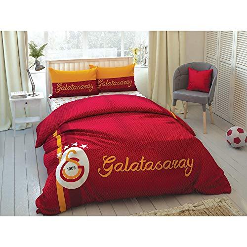 TAC 4-teiliges Bettwäsche-Set für Doppel- / Queen-Size-Betten – Galatasaray gestreift
