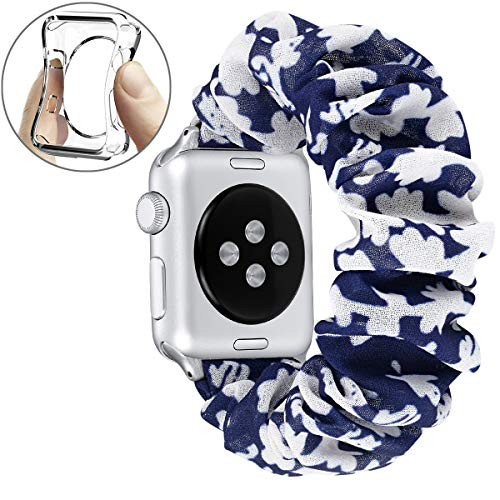 fastgo Compatible with Scrunchie Apple Watch Band Series 5/4 42mm/44mm, Women Girls Gift Elastic Bracelet Sport Strap Stretchy Soft Fabric Replacement Wristbands Accessories(Blue Flower, 42mm/44mm)