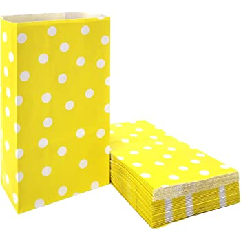 50 PCS Kraft Paper Bags Yellow Polka Dot Favor Bags for Snack Nuts Goodie Treat Bags for Kids' Birthday Wedding Party Favor Bags (5.1 x 3.1 x 9.4 in Yellow)