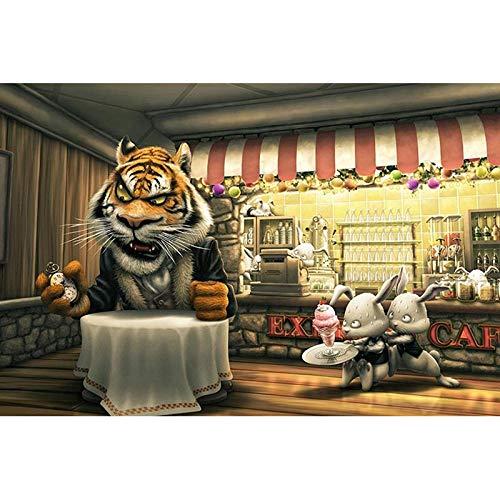 5D DIY pintura diamante,Café reloj animal tigre Diamond Painting Completo Bordado Punto de Cruz Diamante Craft para Home Decoración de la Pared 40cmX30cm(sin marco).