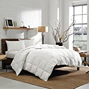 Luxury Eddie Bauer 350 TC Lightweight Down Comforter - Hypoallergenic 700 Fill Power White Goose Down - Striped Damask Cotton