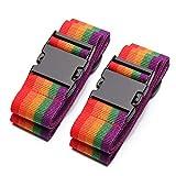 Kono Correas de Equipaje – 2 Pack Rainbow Heavy Duty Maletas de Embalaje Cinturones Accesorios de Viaje Correas de Bolsa Ajustables