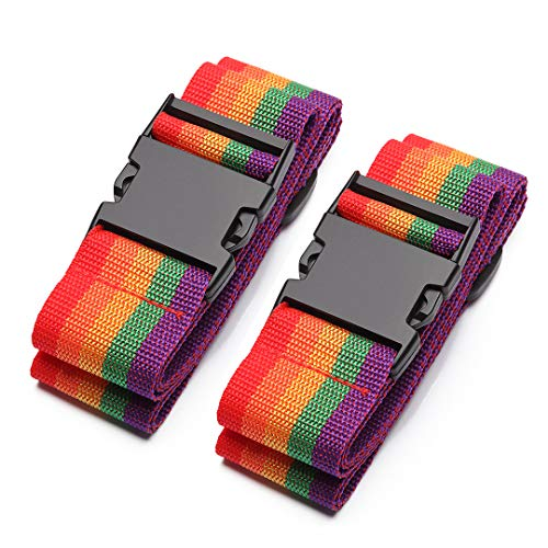 Kono Luggage Straps - 2 Pack Rainbow Heavy Duty Suitcases Packing Belts Travel Accessories Adjustable Bag Straps