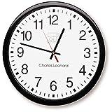 Charles Leonard Wall Clock, 14 Inch Thinline Quartz with 12 Inch Dial,...