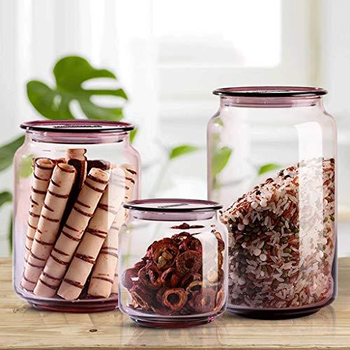 Botes de Cristal con Tapa Glass Canister Set for la cocina, los alimentos jarras de almacenamiento con tapa hermética, galleta, caramelo, nueces, aperitivos, cereales tarros, contenedores de almacenam