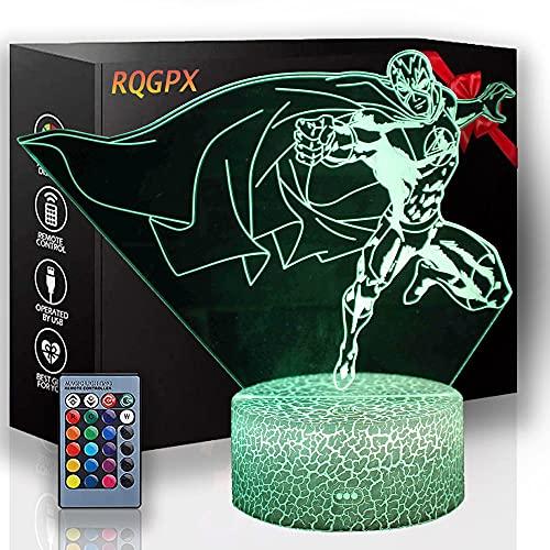 Lámpara de ilusión 3D Lámpara de cabecera Super Hero 3D Luz de noche para niños, 16 colores de cambio de decoración lámpara-Navidad y regalos de cumpleaños para niños y niños