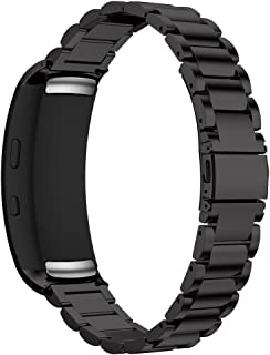 Maxjoy Compatible with Samsung Gear Fit 2 Band,Watch Bands Premium Stainless Steel Bracelet Metal Watch Strap with Magnet Clasp Replacement for Samsung Gear Fit2 SM-R360 Smart Watch,Black
