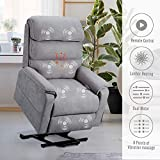 Esright Dual Motor Electric Gray Power Recliner Lift Chair Linen Microfiber Electric Recliner for Elderly, Heated Vibration Massage Sofa with Side Pockets & Remote Control, Gray