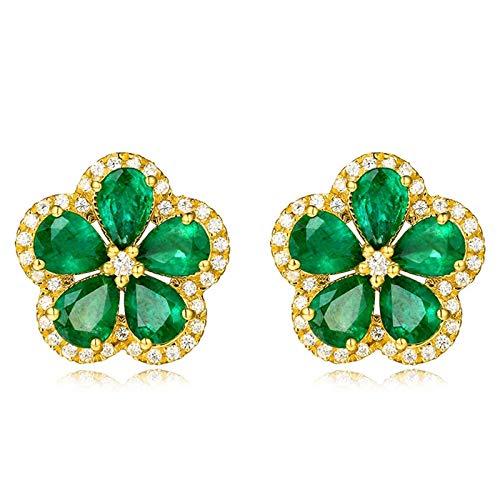 Beydodo Pendientes Mujer de Oro Verde,Pendientes Oro Amarillo 18k Flor con Gota de Agua Esmeralda Verde 1.69ct