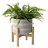 Ceramic Plant Pot with Wood Stand - 7.3 Inch Modern Round Decorative Flower Pot Indoor with Wood Planter Holder, Beige and White