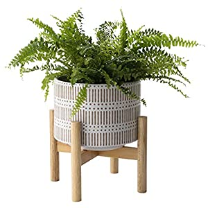 Ceramic Plant Pot with Wood Stand – 7.3 Inch Modern Round Decorative Flower Pot Indoor with Wood Planter Holder, Beige and White
