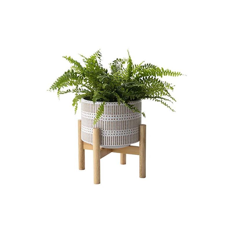silk flower arrangements ceramic plant pot with wood stand - 7.3 inch modern round decorative flower pot indoor with wood planter holder, beige and white