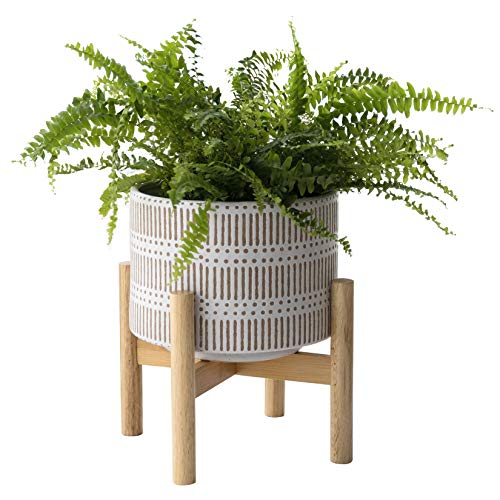 Ceramic Plant Pot with Wood Stand - 7.3 Inch Modern Round Decorative Flower Pot...