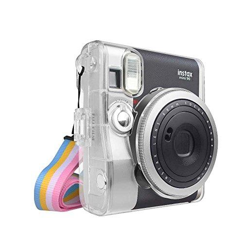 FINTIE Funda para Fujifilm Instax Mini 90 Neo Classic - Bolsa Protectora Transparente para Cámara Instantánea PVC Duro Cristal con Correa Desmontable de Arco Iris, Cristal Claro