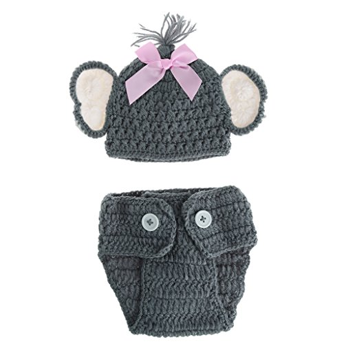 Grey Crochet Baby Elephant Outfit Newborn Photography ... | 500x500