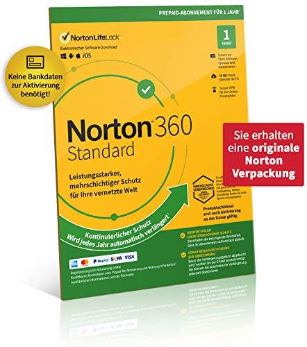 Norton 360 Standard 2021 | 1 Gerät| 1-Jahres-Abonnement mit Automatischer Verlängerung | Secure VPN und Passwort-Manager | PC/Mac/Android/iOS | FFP, Aktivierungscode in Originalverpackung