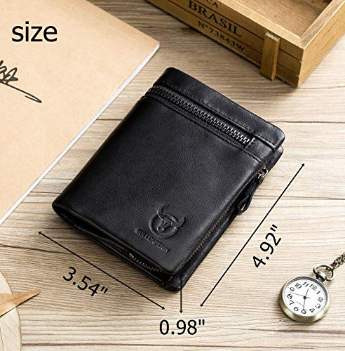 BULLCAPTAIN Men Leather Wallet RFID Blocking Bifold Wallet with 2 ID Window Zipper Coin Purse 2