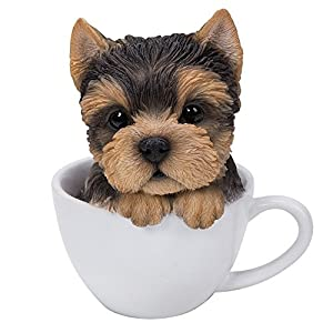 Pacific Giftware Adorable Teacup Pet Pals Puppy Collectible Figurine 5.75 Inches (Yorkie)