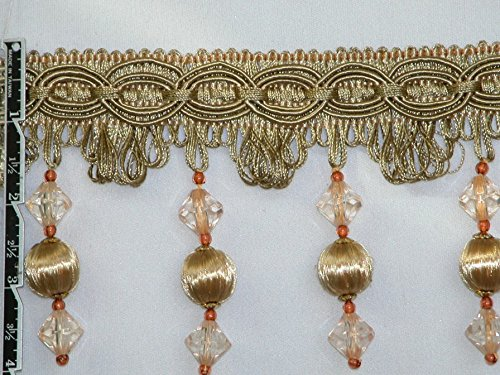 """4"""" Uniquely Classy Handmade Tassel Fringe Trim Hardwood Balls and Sparkling Faceted Beads Gold Peach Per Yard - T1231"""