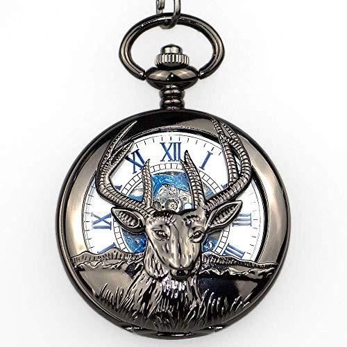 WMYATING Exquisito, hermoso, elegante y único diseño vintage y antiuqe encantadores números romanos hombres hombres mecánicos relojes de bolsillo con cadena de llavero relojes de mujer