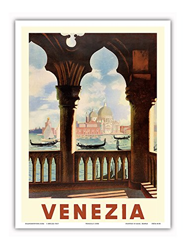 Venezia (Venice), Italy - Gondolas on Grand Canal - St. Mark's Basilica (Basilica di San Marco) - Vintage World Travel Poster c.1938 - Master Art Print - 9in x 12in