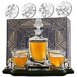 KROWN KITCHEN - Set con decanter whisky. Include: bicchieri whisky, sottobicchieri e base in legno. Perfetto regalo per papà. Per bourbon, scotch, liquori, ecc. 750ml capacity
