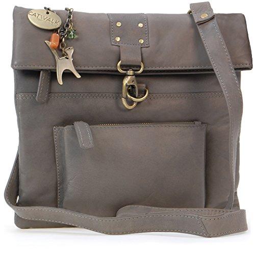 Catwalk Collection Handbags - Leder - Damen Leder Umhängetasche/Handtasche/Messenger/Schultertasche - DISPATCH - Grau