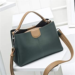 Vioaplem Top Handle Bag for Ladies Shoulder Bag Ladies Small Leather Hobo Messenger Bag Fashion Handbag Purs Baguette Bucket Flap Frame Crossbody Bag (Color : Green)