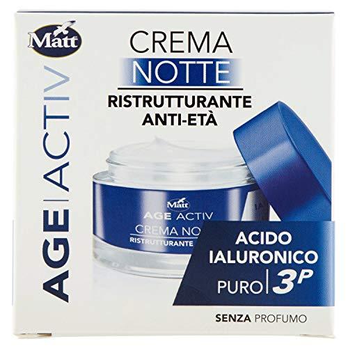 Matt - Age Activ Crema Viso Ristrutturante Anti Age Notte - Acido Ialuronico 3P - Ridensificante e Levigante, Idratazione Profonda - Confezione da 50 ml