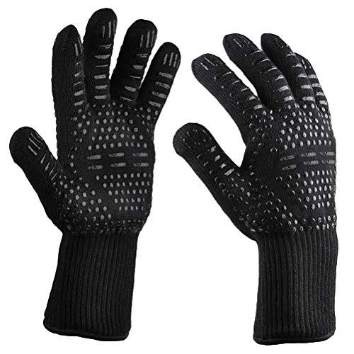 BESPORTBLE 2 STKS BBQ Handschoenen Zwart Warmte Isolatie Keuken Handschoenen