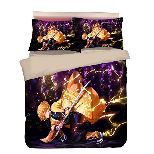 Conjunto de cama caçador de demônios, jogo de cama 3D anime para cama de solteiro casal queen size - 1 capa de edredom + 1/2 capa de almofada - Conjuntos de capa de edredom de microfibra macia para fãs (GMZR-11, Twin)