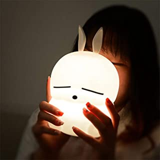 Cartoon Mashimaro Rabbit Silicone Light Night for Kids, Portable USB Rechargeable Nightlight with 4 Color-changing LED Lamp for Children Bedroom Bedside Animals Night Lamp Christmas Gifts (White)