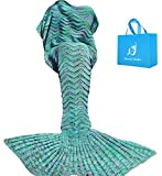 A AM SeaBlue Meerjungfrau Decke, Handgemachte häkeln meerjungfrau Flosse Decke für Erwachsene,...