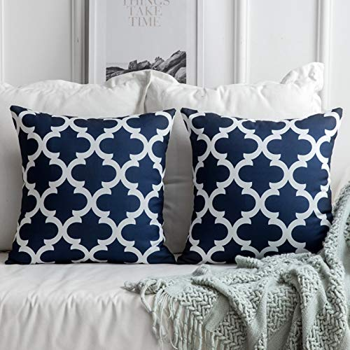 MIULEE Pack of 2 Decorative Throw Pillow Cover Contemporary Geometric Design Pillow Case Modern Cushion Cover Shell for Sofa Bedroom 18 x 18 Inch 45 x 45 Cm Navy Blue