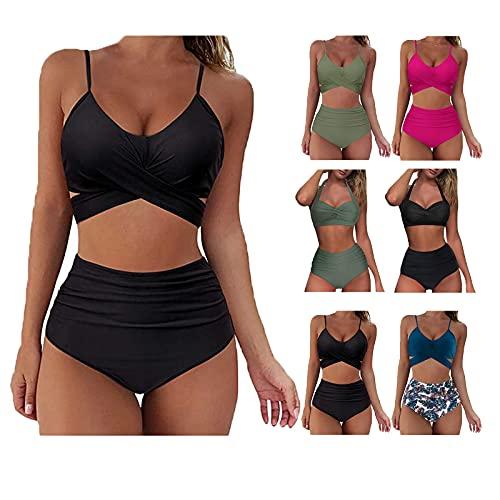 Bikini Damen Push Up,Bustier Bikini Damen,Super Push Up Bikini für Kleine BrüSte,Damen Volant Hohe Taille Bikini Set Bedruckt Badeanzug,Schwarz,XL